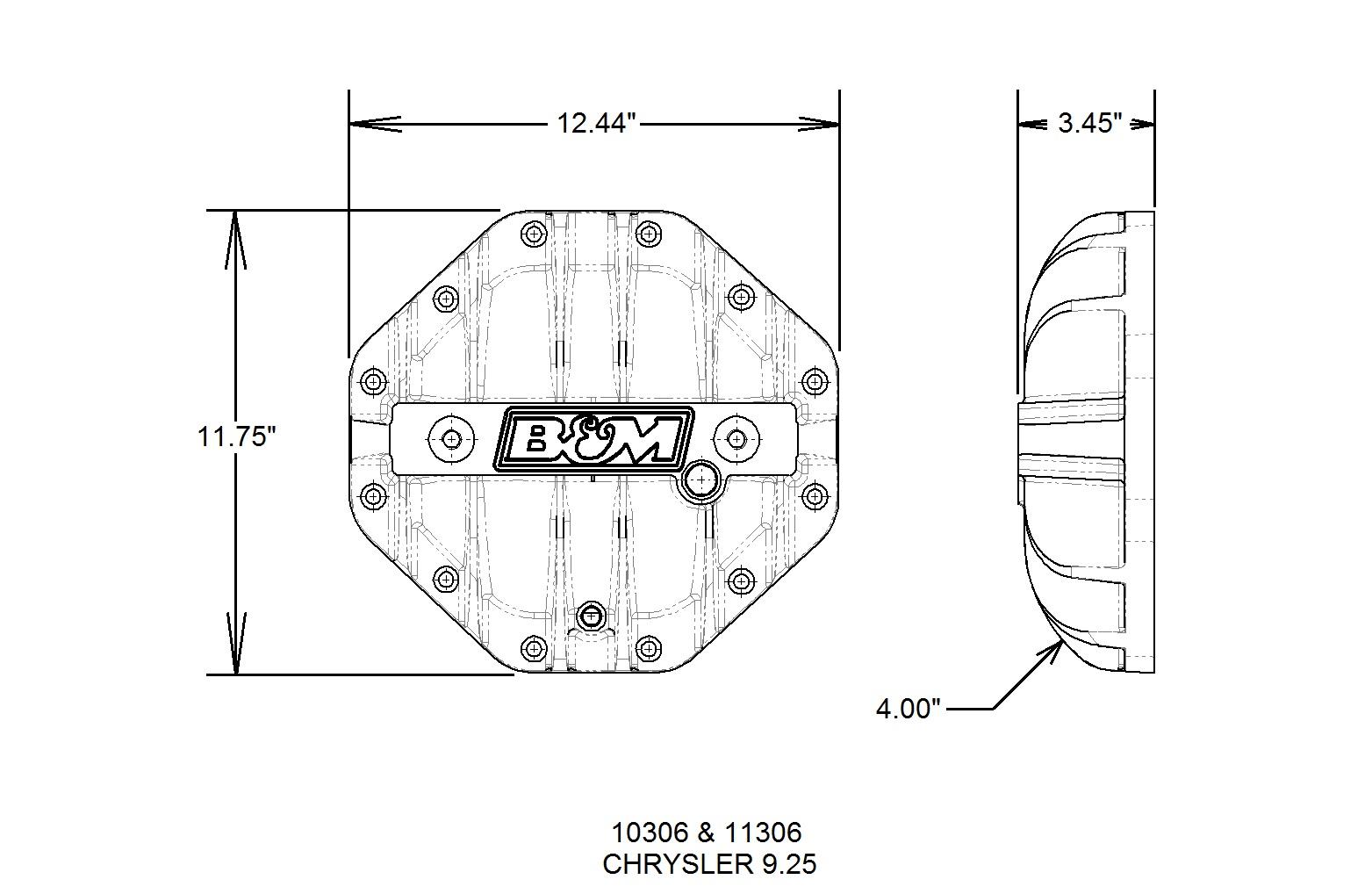 B&M Hi-Tek Aluminum Differential Cover for Chrysler 9.25-inch - Black