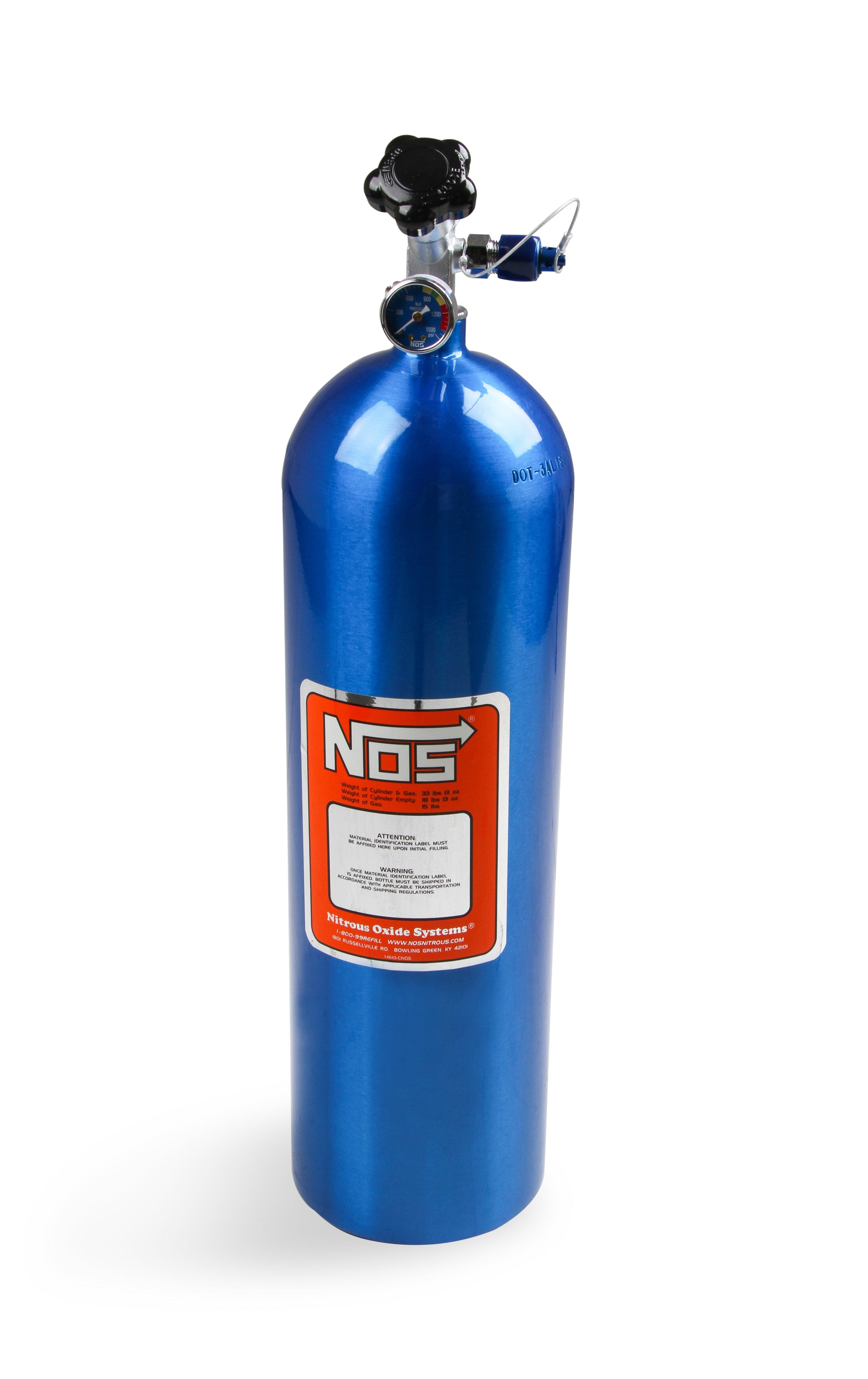 NOS 14750NOS 15 lb Electric Blue Nitrous Bottle - Holley