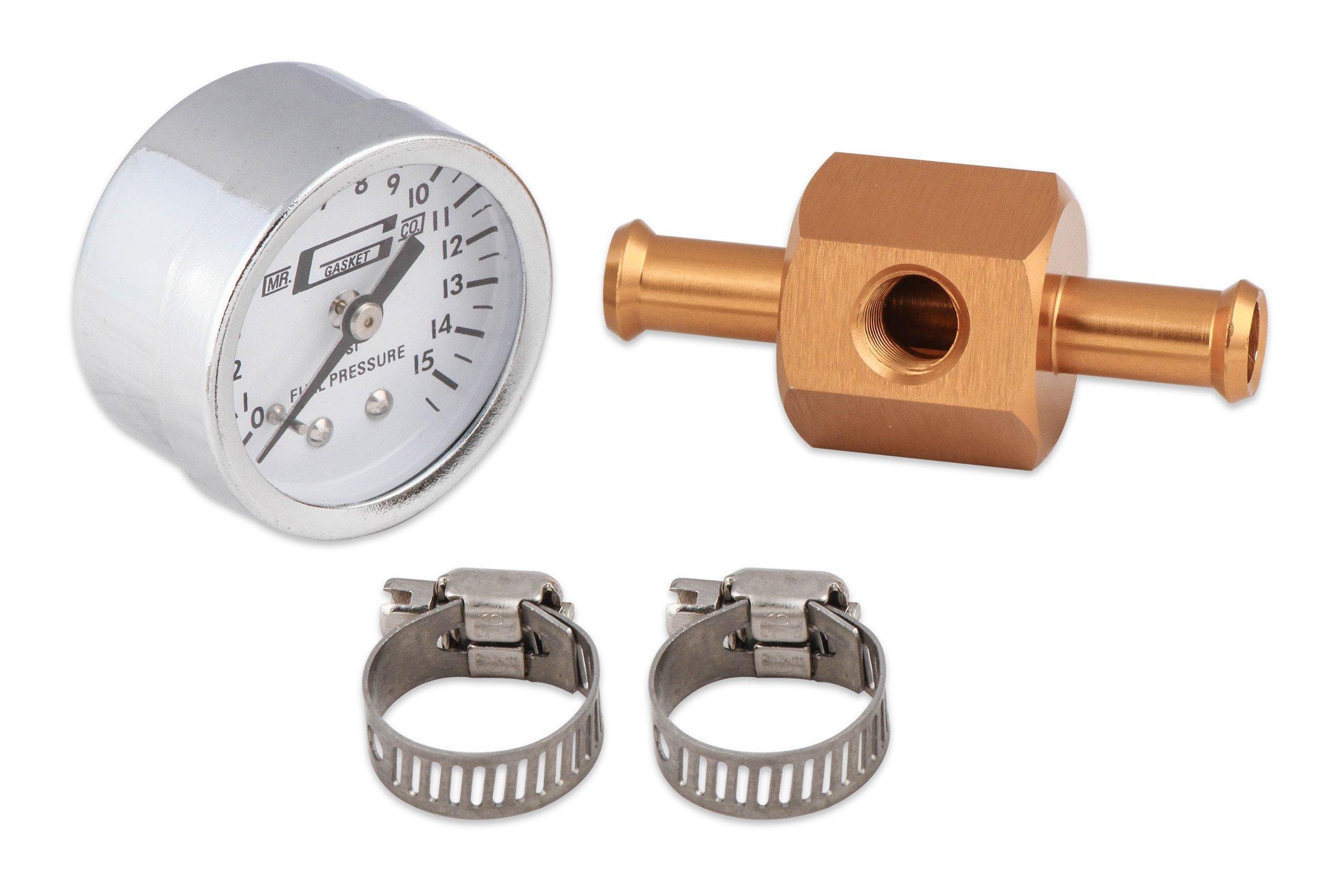 Mr  Gasket Fuel Block with 0-15 PSI Fuel Pressure Gauge