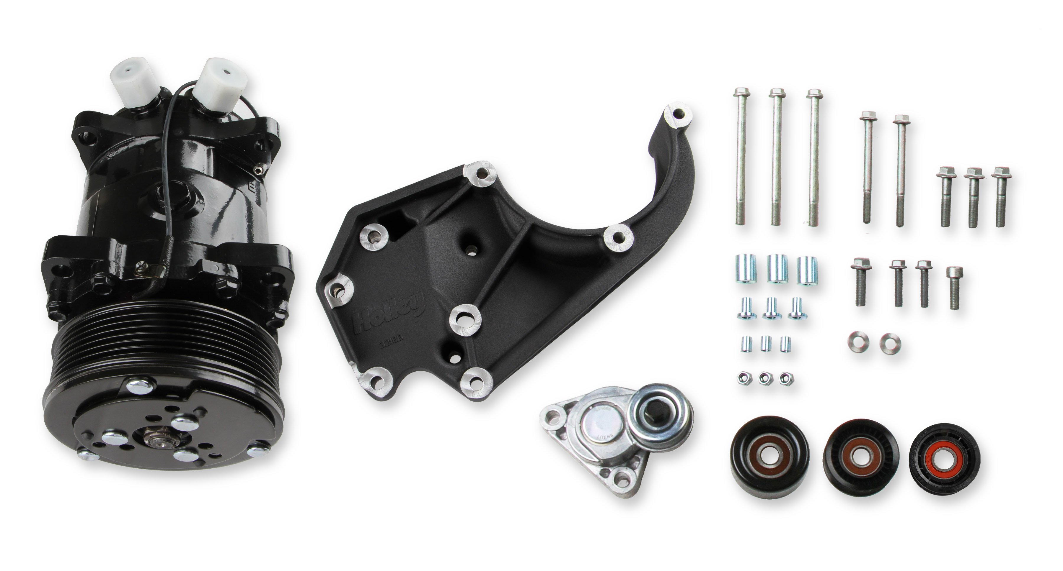LS A/C Accessory Drive Kit - Includes SD508 A/C Compressor, Tensioner, &  Pulleys- Black Finish