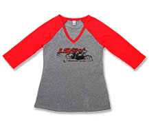 Ladies Red and Gray Baseball Tee - 10109-nav.jpg