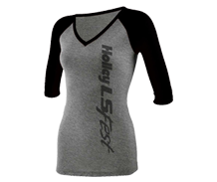 Ladies Black and Gray Baseball Tee
