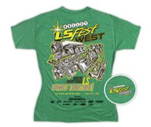 2017 LS Fest West Ladies Green V Neck Tee