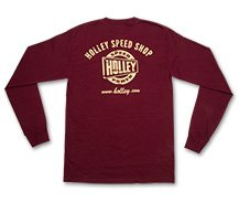 Holley Speed Shop Long Sleeve Maroon Tee - speedpowerburgundylongsleeve_back_nav18158.jpg