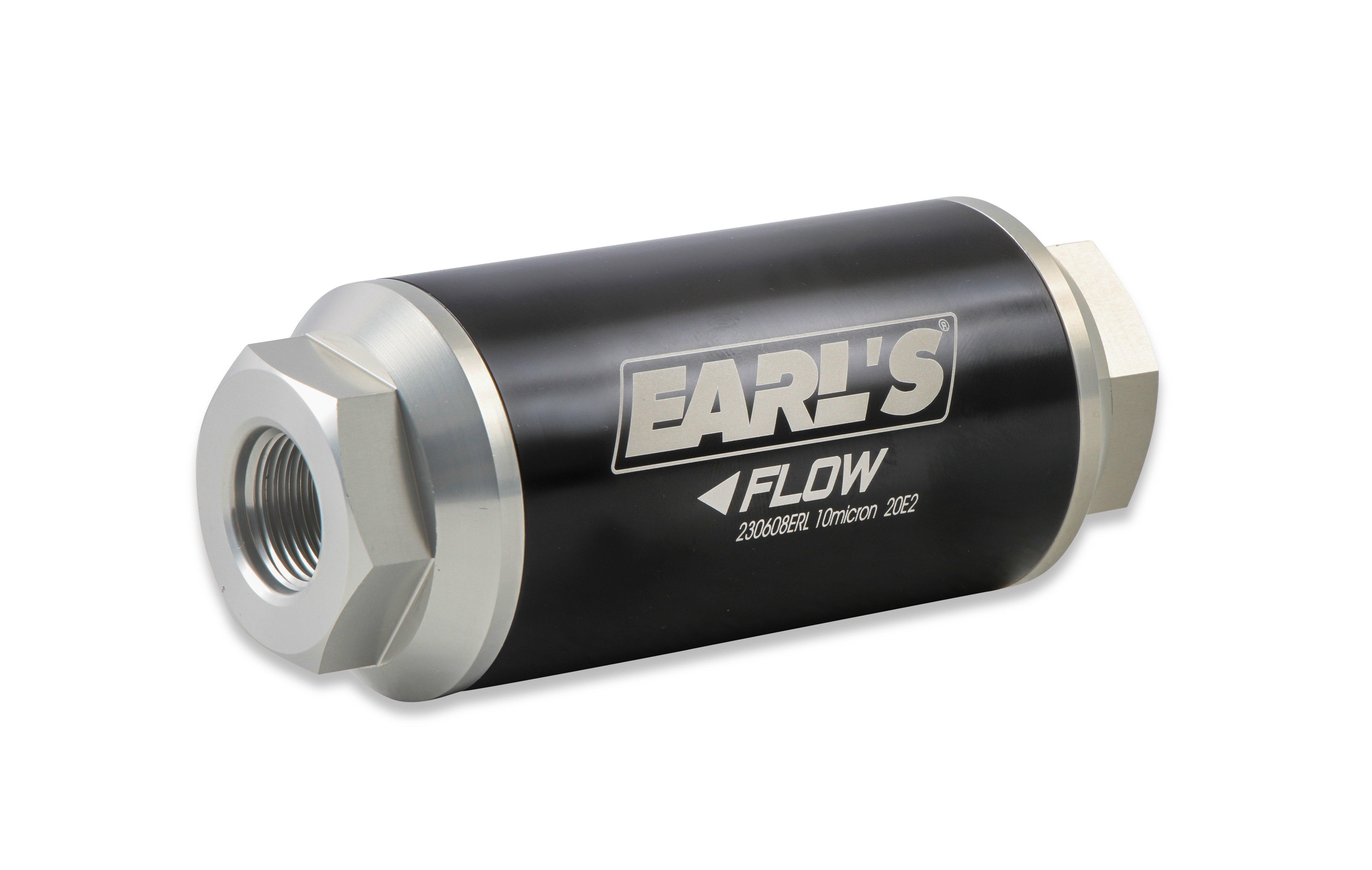 Inline Billet Aluminum Fuel Filter 9//16-18 9//16-18 Male Black