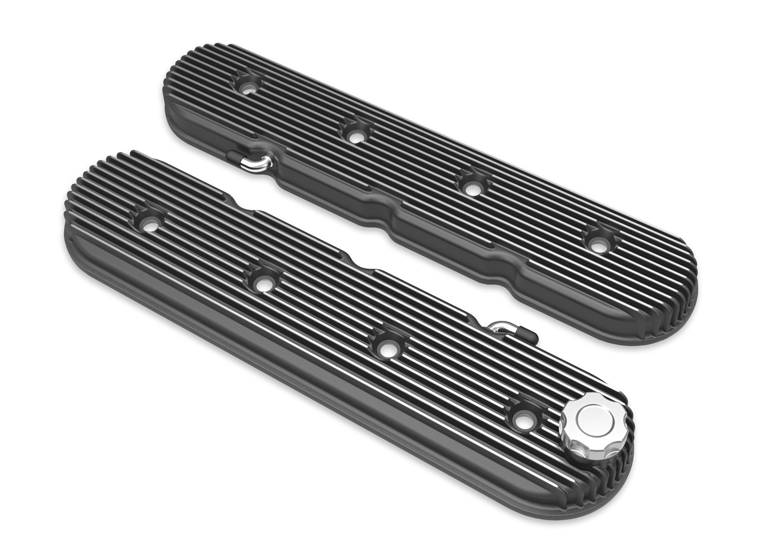 Vintage Series Finned LS Valve Covers, Standard Height - Satin Black  Machined Finish