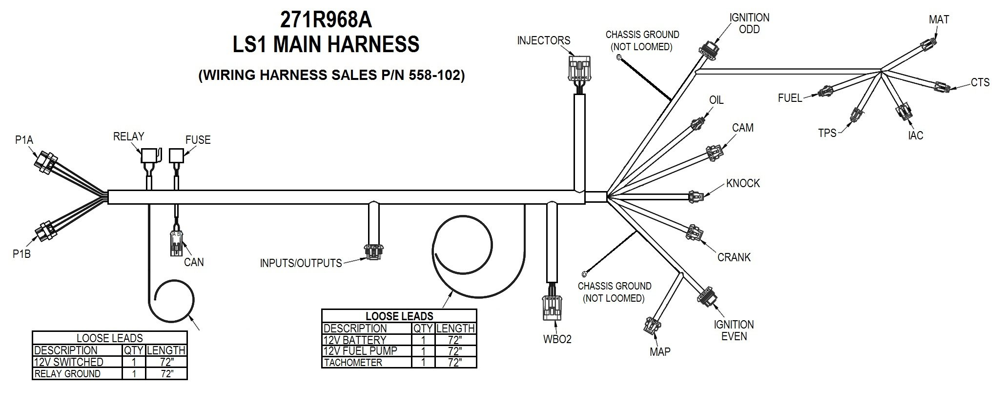 ls1 wiring harness diagram holley efi 558 102 ls1 6  24x 1x  engine main harness  holley efi 558 102 ls1 6  24x 1x