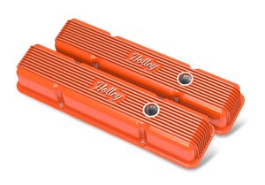 241-239 - Vintage Series Finned Valve Covers, with Emissions, SBC – Factory Orange Finish