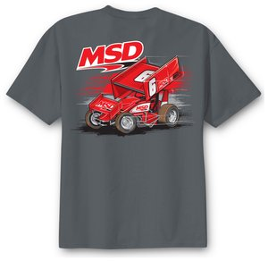 MSD Sprint Car T-Shirt, Gray, Large
