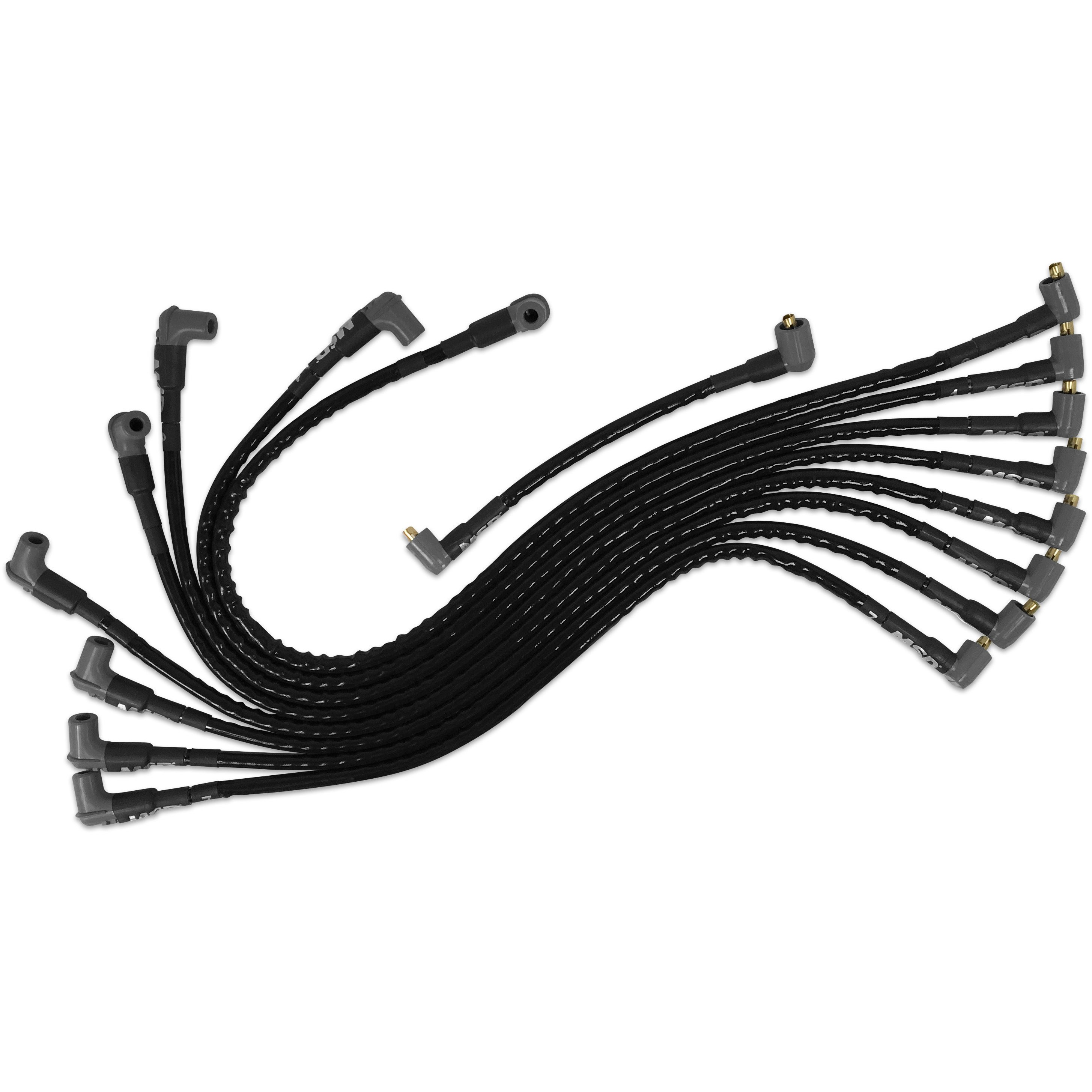 msd 31591 sleeved spark plug wires for sbc under exhaust  socket