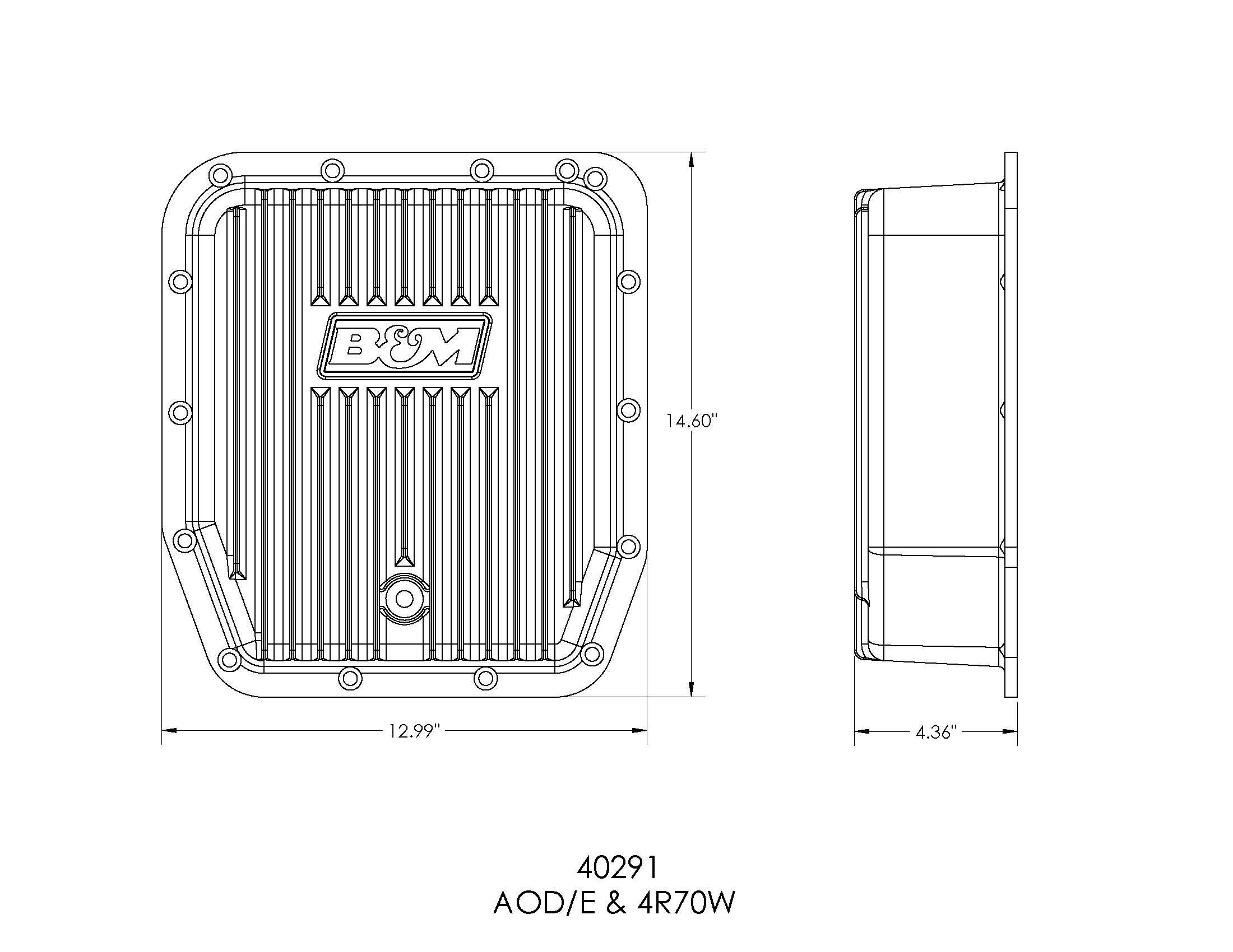 B&M Hi-Tek Deep Transmission Pan - Aluminum