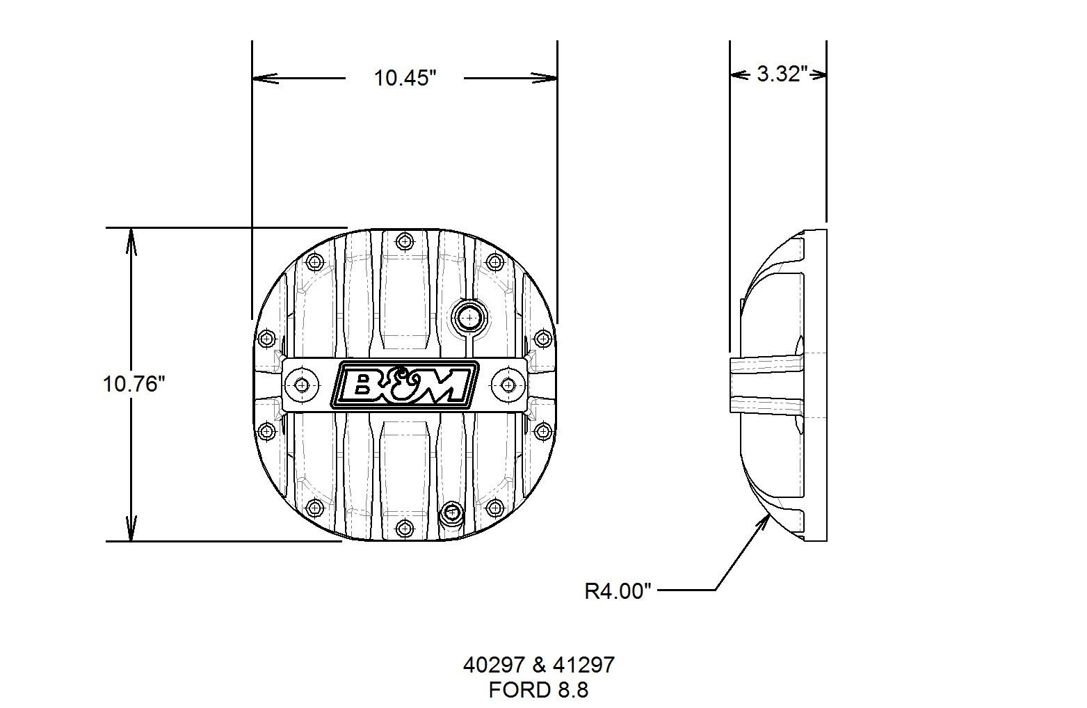B&M Hi-Tek Aluminum Differential Cover for Ford 8.8-inch