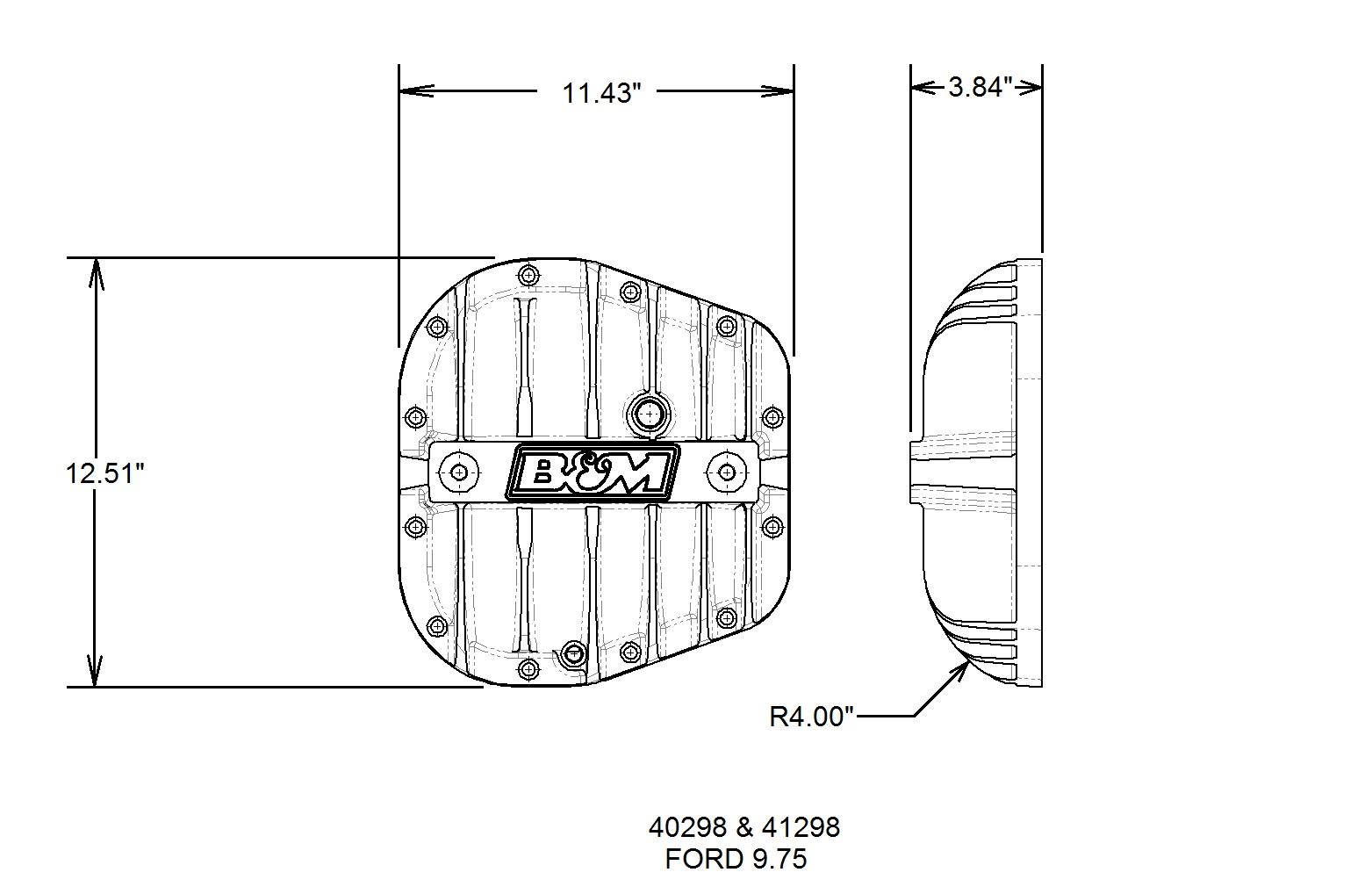 B&M Hi-Tek Aluminum Differential Cover for Ford 9.75-inch - Black