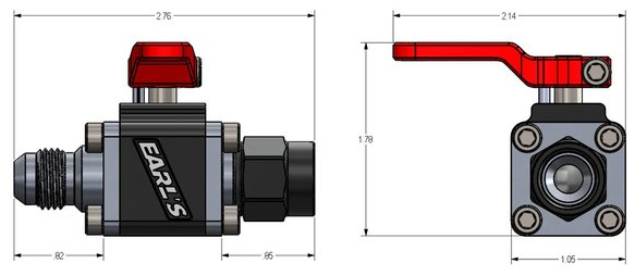 230706ERL - Earls UltraPro Ball Valve -6 AN Male to Female - additional Image