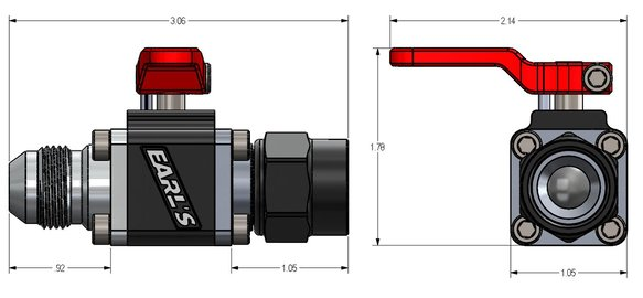 230708ERL - Earls UltraPro Ball Valve -8 AN Male to Female - additional Image