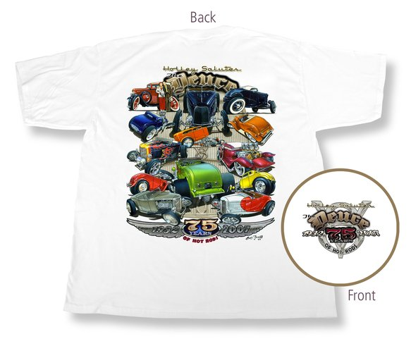 10005-SMHOL - White 75th Anniversary Deuce T-Shirt (Small) Image