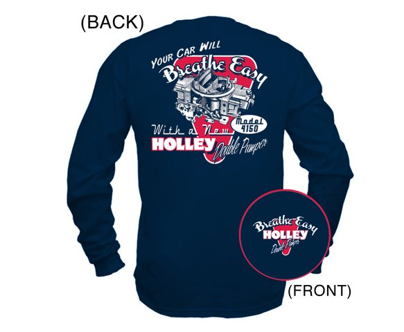 10015-LGHOL - Navy Blue Holley Long Sleeve DP Retro T-shirt (Large) Image