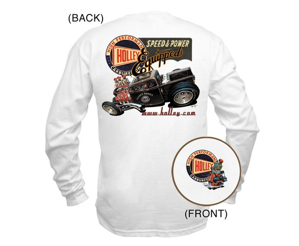 10016-MDHOL - White Holley Long Sleeve Retro T-Shirt (Medium) Image