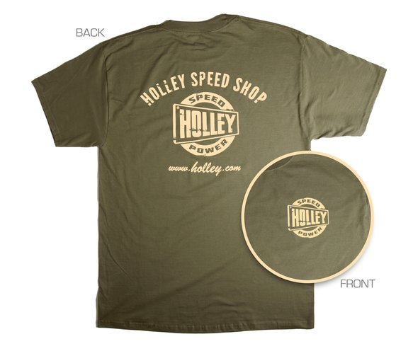 10025-SMHOL - Military Green Holley Speed Shop T-Shirt (Small) Image