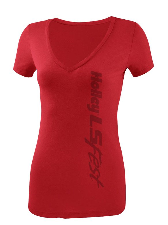 10051-SMHOL - Ladies Red V-Neck Logo Tee Image