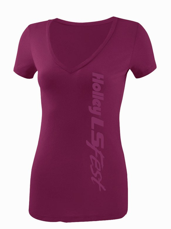10087-XLHOL - Ladies Plum V-Neck Tee Image