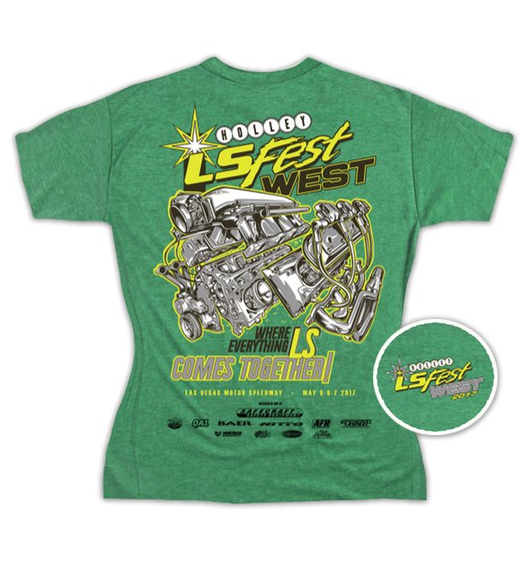 10094-LGHOL - Ladies Green V-Neck Tee Image