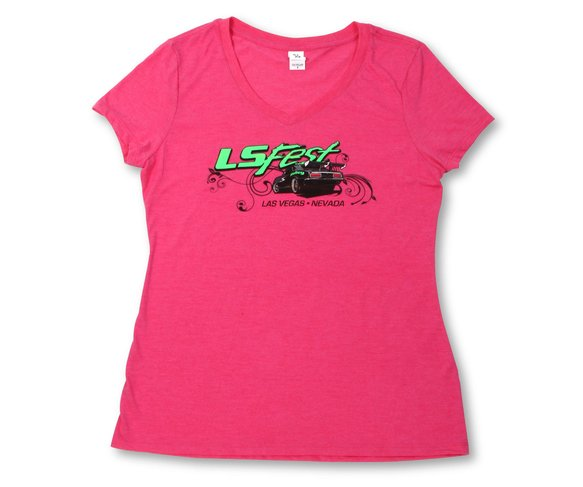 10137-XLHOL - Ladies Hot Pink V-Neck Tee - Las Vegas, Nevada Image