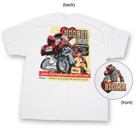 10149-MDHKR - White Hooker Willys Pin-Up Retro T-Shirt (Medium) Image