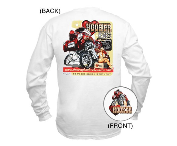 10153-XLHKR - White Hooker Willys Long Sleeve Pin-Up Retro T-Shirt (X-Large) Image