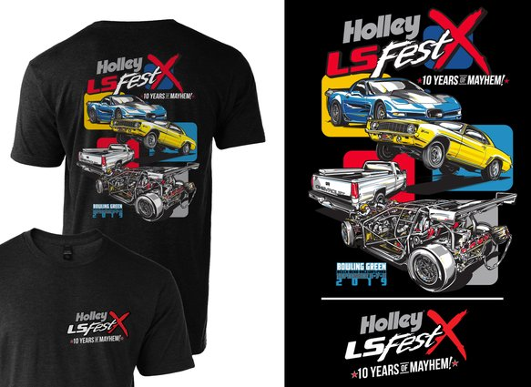 10222-3XHOL - 2019 Holley LS Fest Drag Racing Event T-Shirt Image