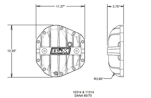 11314 - Cast Aluminum Differential Cover for Dana 60/70 - Black - additional Image