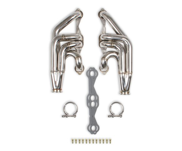 11573FLT - Flowtech Small Block Chevy Turbo Headers - Polished Finish Image