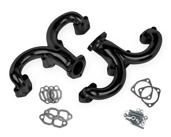 11704FLT - Flowtech Rams Horn Exhaust Manifolds - Black Paint Image