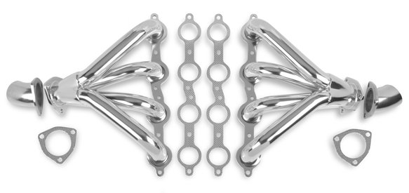 11706-2FLT - Flowtech Chevy LS Tight Fit Block Hugger Headers - Chrome Finish Image
