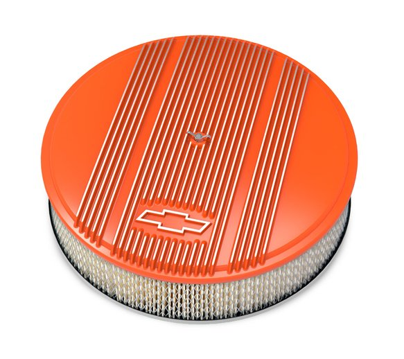 120-168 - Vintage Series GM Licensed Air Cleaner - Factory Orange Machined Image