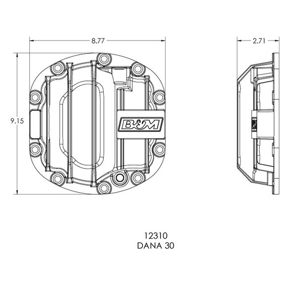 12310 - B&M Nodular Iron Front Differential Cover for Dana 30 - additional Image