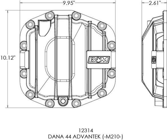12314 - B&M Nodular Iron Dana 44 Advantek Front Differential Cover - additional Image