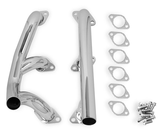 12701-2FLT - FLOWTECH FLATHEAD REAR EXIT BLOCK HUGGER HEADERS - Chrome Image