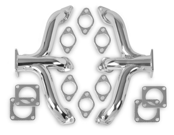 12702-7FLT - Flowtech Flathead Ford Block Hugger Headers - Stainless Steel Image
