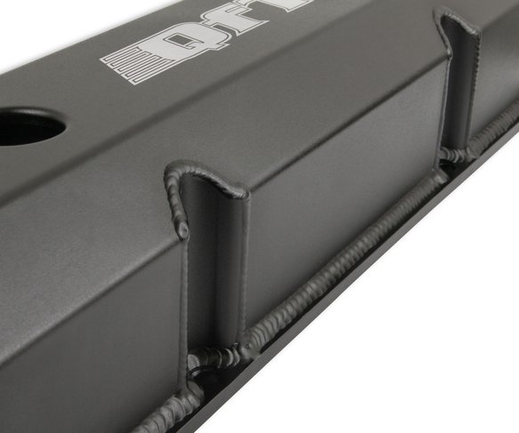 128-21BQFT - Quick Fuel Fabricated Aluminum Valve Cover - Ford FE - Black Finish - additional Image