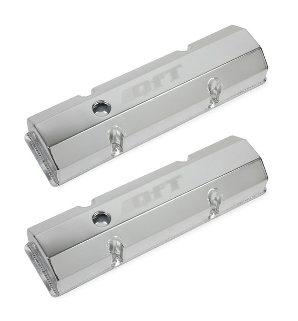 128-27QFT - Fabricated Aluminum Valve Cover - Small Block Chevy- Silver Finish Image