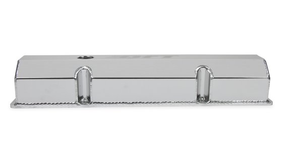 128-27QFT - Quick Fuel Fabricated Aluminum Valve Cover - Small Block Chevy- Silver Finish - additional Image