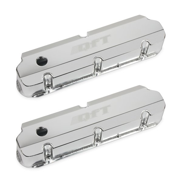 128-29QFT - Quick Fuel Fabricated Aluminum Valve Cover - Small Block Ford- Silver Finish Image
