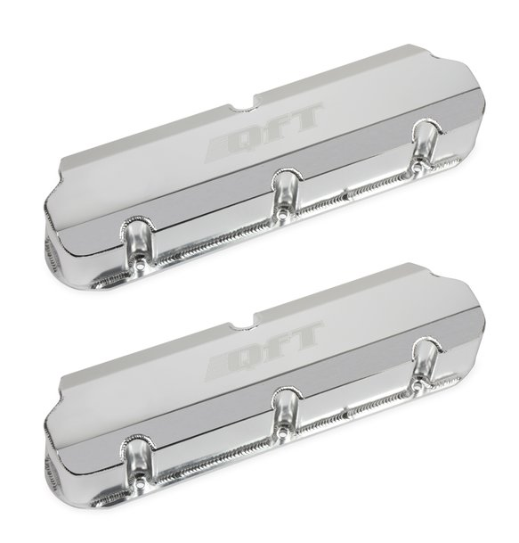 128-30QFT - Quick Fuel Fabricated Aluminum Valve Cover - Small Block Ford- Silver Finish Image