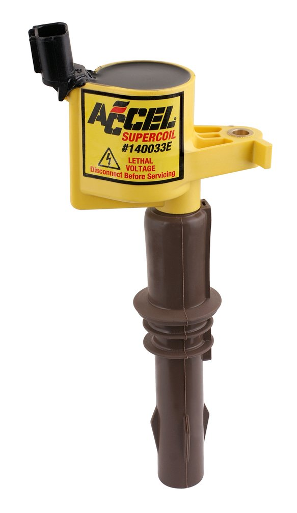 140033E - ACCEL Ignition Coil - SuperCoil - 2008-2014 Ford  4.6L/5.4L/6.8L 3-valve engine, Yellow, Individual Image