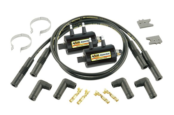 140403K - Ignition Coil Kit - Universal Super Coil - 4-Cylinder Inductive - 3.0 Ohms Res - Black Image