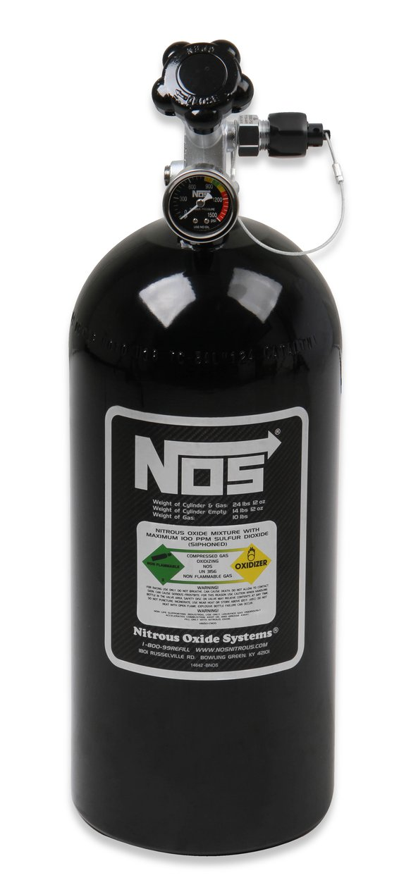14745B-TPINOS - NOS Black 10 lb Nitrous Bottle Super Hi-Flo w/Racer Safety Image