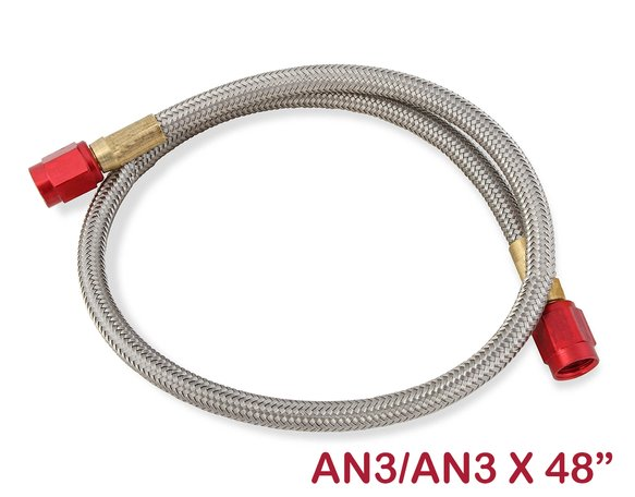 15081NOS - Stainless Steel Braided Hose -3AN 4-foot Red Image
