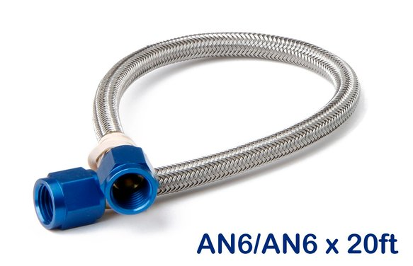 15490NOS - Stainless Steel Braided Hose -6AN 20-foot Blue Image