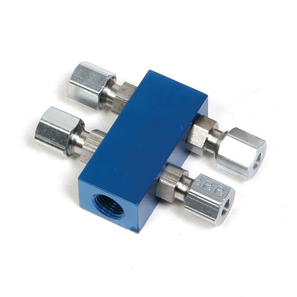 "16714NOS - 1-1/8"" NPT in 4 out Distribution Block - Blue Image"